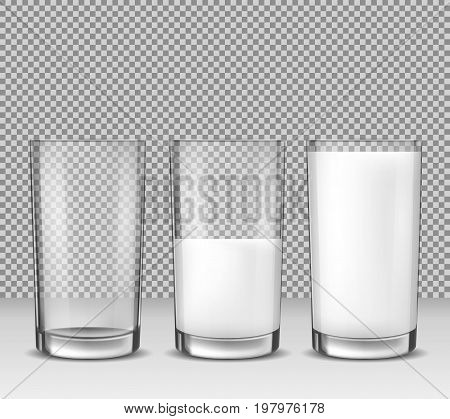 Set of vector realistic illustrations, isolated icons, glass glasses empty, half full and full of milk, dairy product, yogurt, kefir, protein cocktail. Print, template, design element