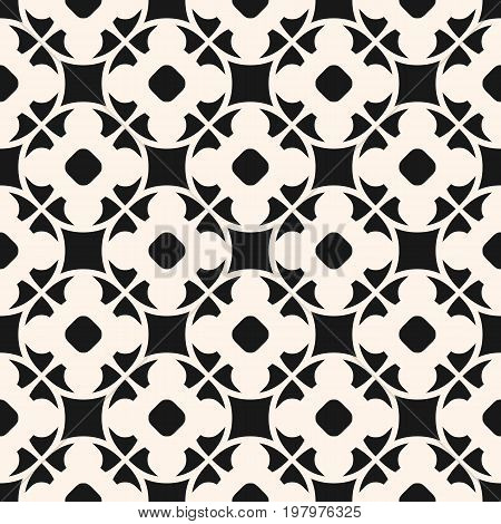 Vector seamless pattern in oriental style. Monochrome geometric ornament, abstract background texture with floral shapes, circles lattice. Repeat design for prints, textile, decoration, fabric, cloth.