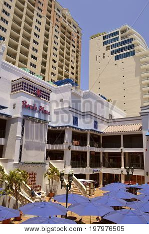 Fort Lauderdale Florida USA - May 16 2017 : Beach Palace a shopping centre close to the beach in Fort Lauderdale