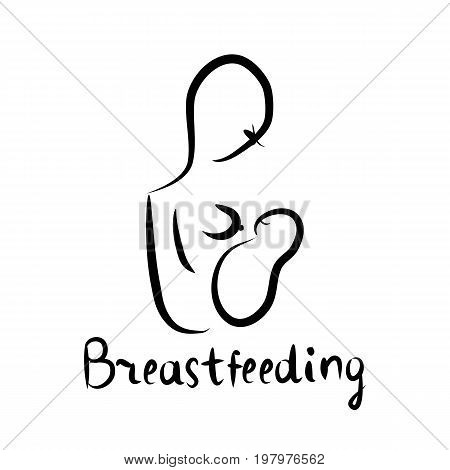 Black silhouette of woman with baby breast feeding. Inscription lettering. World Breastfeeding Day. World breastfeeding week. 1-7 August. Vector illustration on isolated background.
