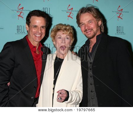 LOS ANGELES - MAR 18:  Christian LeBlanc  Jeanne Cooper, Stephen Nichols arriving at The Young & the Restless 38th Anniversary Party  at Avalon Hotel on March 18, 2011 in Beverly HIlls, CA