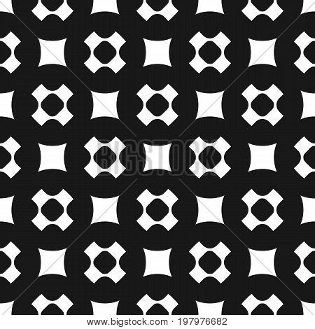 Seamless pattern, simple geometric texture with rounded shapes, squares, perforated crosses in staggered array. Dark abstract minimalist background. Design element for prints, covers, digital. Square pattern, cross pattern.