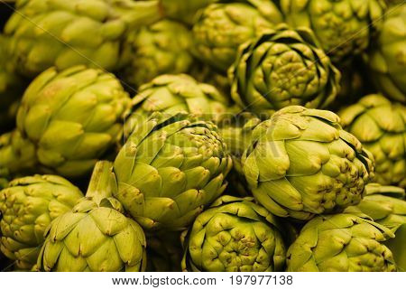 Pile Of Artichokes, Close Up Image, Color Image, Selective Focus
