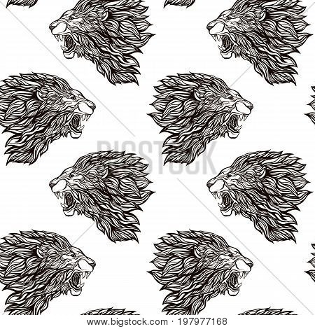Lion seamless pattern. Graphic in black and white colors.  Stock vector illustration.