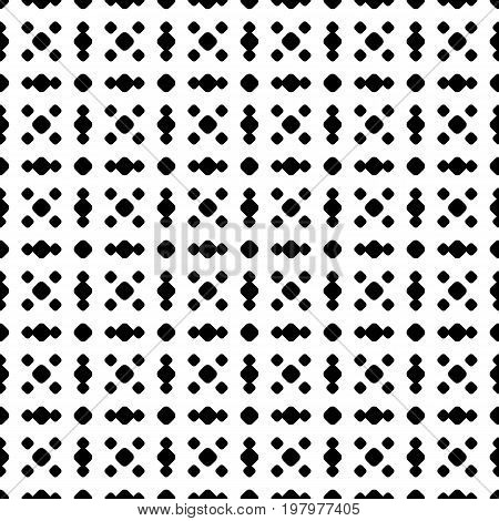 Polka dot seamless pattern, vector black & white subtle dotted texture. Abstract monochrome background with different small circles in square, geometric grid. Simple repeat design for decor. Dots pattern, geometric pattern, ornamental pattern