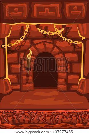 Fantasy landscape Stock Vectors. Underground Cave Castle cartoon illustration for game design