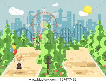 Stock vector illustration walk stroll promenade girl, school child, child s day, holds balloons in hands on alley pavement in amusement park outdoor, roller coaster switchback background flat style