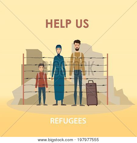 Refugee family. Muslim people. Emigrants. Husband and wife. Civil war in Syria Vector illustration