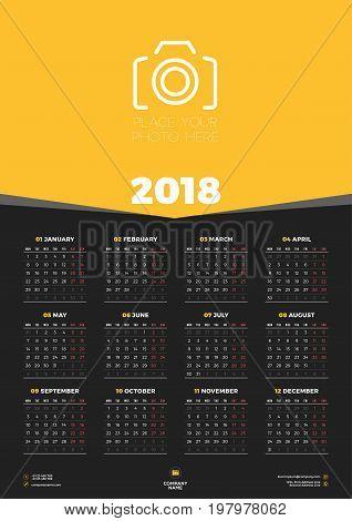 Calendar Poster Template 2018 Year Vector Photo Bigstock