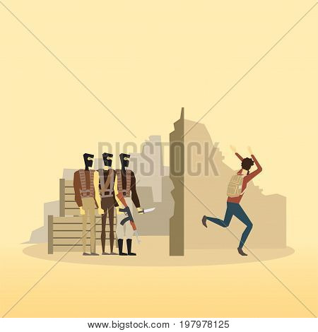 Muslim people. Emigrants. Civil war in Syria Vector illustration. humanitarian relief