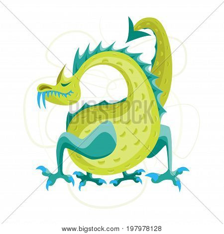Cartoon Green Fantasy Animal Dragon Cute Magic Air or Water Mythology Monster Flat Style Design. Vector illustration