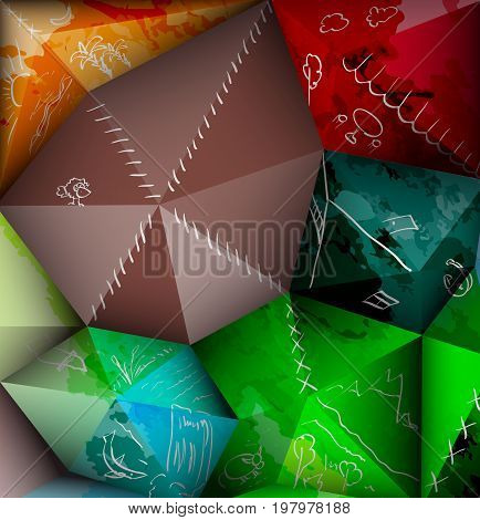 Abstract patchwork background. Art of ecotourism and travel.