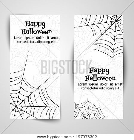 Spider's web. Black and white vector banners for halloween