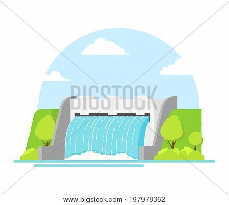 Cartoon Hydroelectric Station River on a Landscape Background Alternative Eco Renewable Resource. Vector illustration