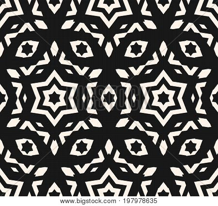 Ornamental seamless pattern, abstract monochrome linear texture, geometric figures, stars, rhombuses. Ornament background in oriental style, repeat tiles. Design for home decor, cloth. Stars pattern, rhombus pattern, arabic pattern, oriental pattern