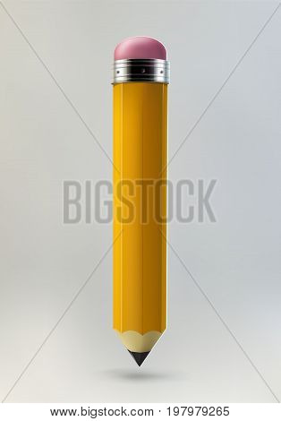 Yellow pencil icon on grey background. Realistic 3d vector illustration made with gradient mesh. Education and creativity concept.