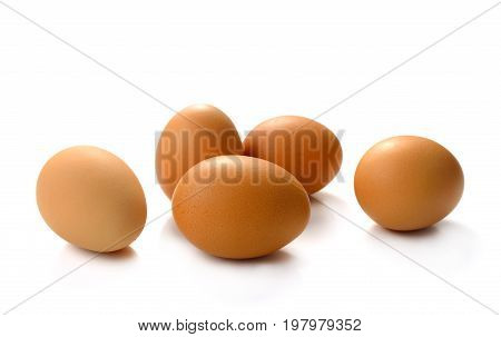 Organic eggs isolated on white background .