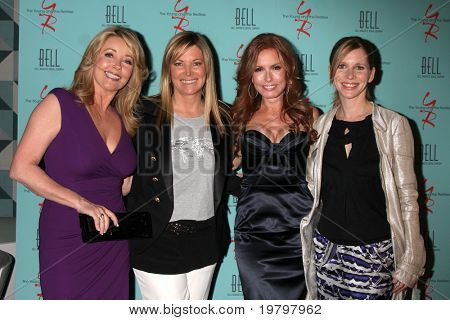 LOS ANGELES - MAR 18:  Melody Thomas Scott, Maria Bell, Tracey E. Bregman, Lauralee Bell arriving at The Young & the Restless 38th AnnivParty at Avalon Hotel on March 18, 2011 in Beverly HIlls, CA
