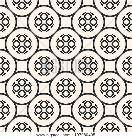 Vector monochrome seamless pattern with geometric figures, perforated circles. Illustration of round mesh, lattice, oriental style. Repeat texture abstract background. Design for prints, covers, web.