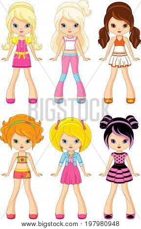 Set Cartoon Doll on white background, EPS 8