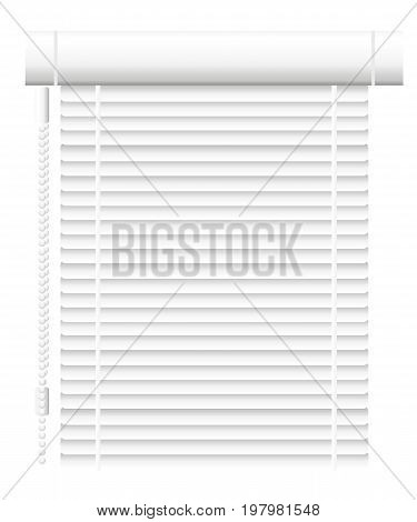 Window shutters. Office interior blinds. Window decor. Horizontal window blind. Vector illustration. Grey window blinds. Office accessories. Web site page and mobile app design vector element.