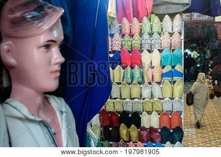 Leather shoes on traditional Moroccan market (souk) in Fez Morocco