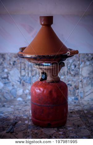 Traditional Moroccan Tagine Making On Gas Bottle