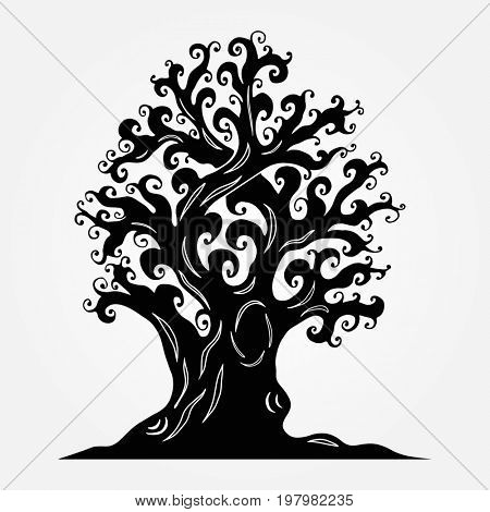 Old tree with crimped branches, a hollow, knotty roots. Tattoos, doodling style. Element for Halloween design, print on the T-shirt, souvenir products.