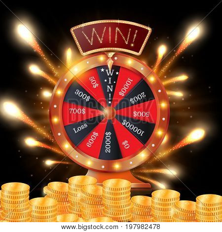 Realistic 3d spinning fortune wheel, lucky roulette vector illustration. Win. firework explosion.