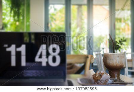 Creative home office of freelance stock photo