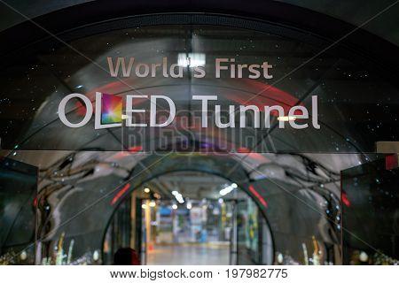 SEOUL, SOUTH KOREA - CIRCA JUNE, 2017: Namsan Seoul Tower 1F- OLED Tunnel sign. OLED panels are displayed all around the Namsan Seoul Tower from level 1 to 4.
