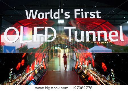 SEOUL, SOUTH KOREA - CIRCA MAY, 2017: Namsan Seoul Tower 1F- OLED Tunnel sign. OLED panels are displayed all around the Namsan Seoul Tower from level 1 to 4.