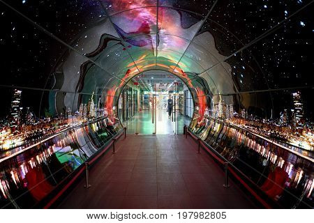 SEOUL, SOUTH KOREA - CIRCA MAY, 2017: Namsan Seoul Tower 1F- OLED Tunnel. OLED panels are displayed all around the Namsan Seoul Tower from level 1 to 4.