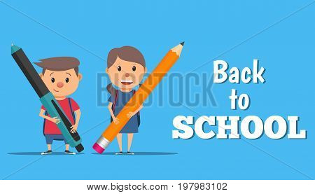 Back to school. A boy and a girl are holding a pen and pencil. Back to school poster banner or flyer. Vector illustration in flat style