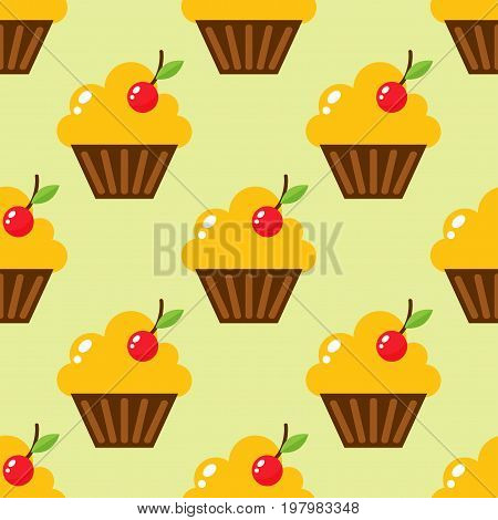 Little delicious cupcakes sweet dessert celebration birthday party food cream sprinkles frosting snack vector illustration. Buttercream chocolate vanilla confectionery seamless pattern.