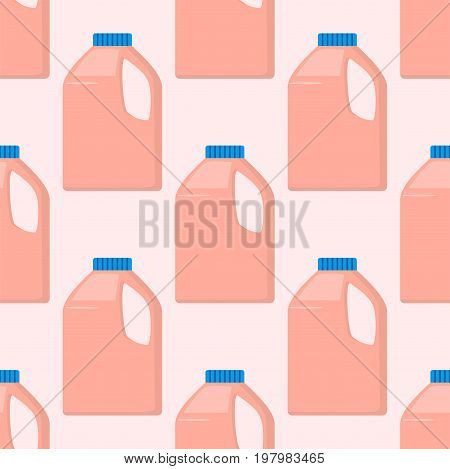 Group of bottles of household chemicals supplies and cleaning housework plastic detergent liquid domestic fluid bottle cleaner pack seamless pattern vector illustration.