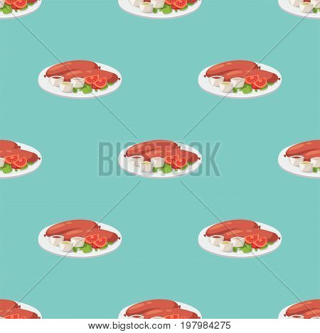 Smoke dried sausages seamless pattern dish meat dinner cuisine delicious lunch barbecue vector illustration. Roasted gourmet nutrition cooking dinner fresh meal.