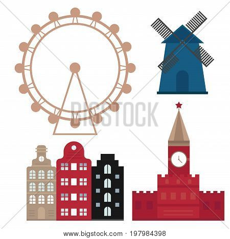 Euro trip tourism travel design famous building and euro adventure international vacation tours advertisement. Outdoor architecture vacation travelling concept flat design vector illustration.