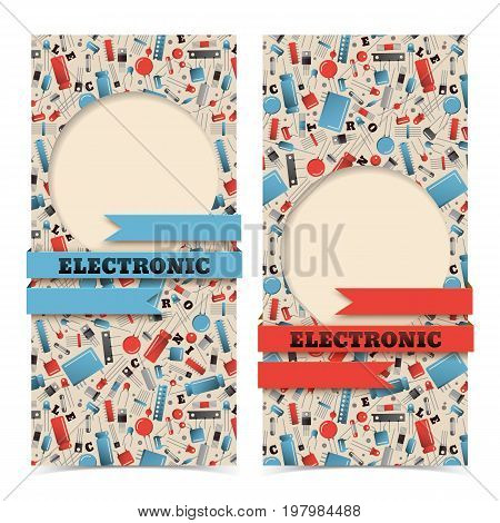 Vertical colorful industrial banners set with transistors and ribbons isolated on white background flat vector illustration