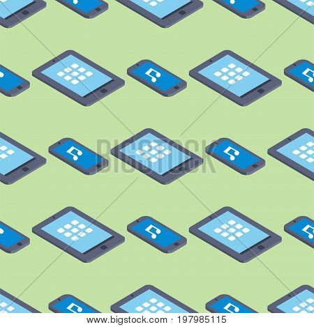 Tablet touch screen background communication electronic isometric seamless pattern equipment vector illustration. Design pda smartphone communicator.