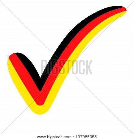 check mark style Germany flag symbol elections, voting and approval, vector concept check mark Germany tick DE
