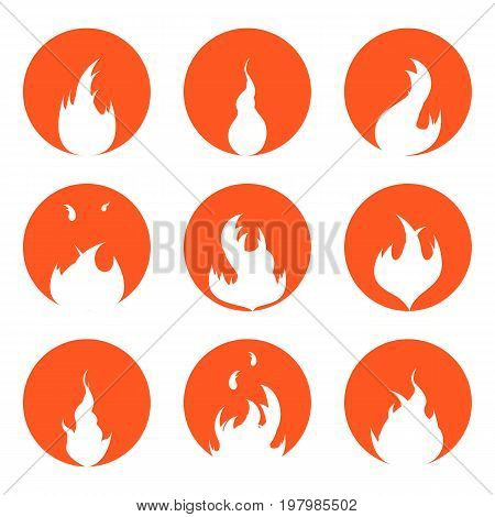 Bright Fire Flames Set Silhouette in Red Circle Background Light Effect for Design. Vector illustration