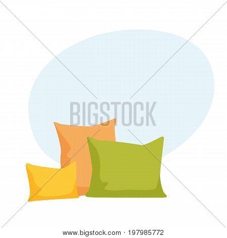 Comfortable pillow vector illustration. Bedding cloth. Cushion cartoon vector illustration.