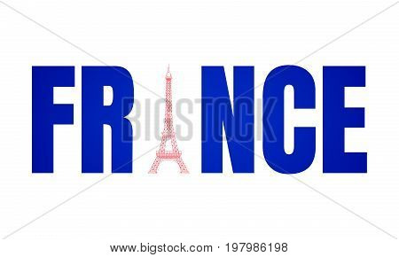 France logo. Flag of France and Eiffel tower. Template for badge, sticker, magnet, prints, etc..