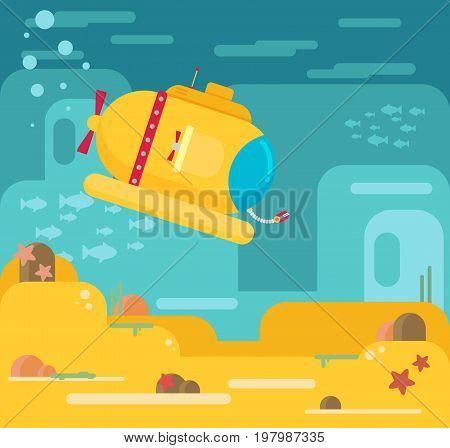 Submarine under water concept vector flat illustration