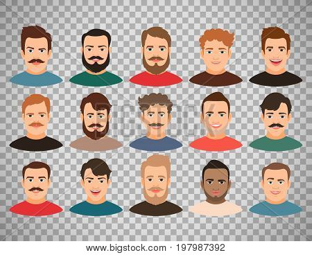Cartoon handsome young guy portraits with beard or without vector illustration. Man face avatar set isolated on transparent background