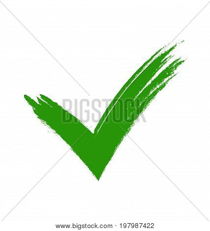 Green tick. Green check mark. Tick symbol, icon, sign in green color. Done