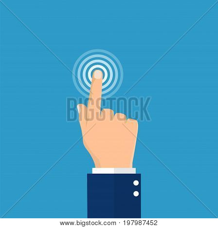 Touch icon concept. Hand touch , push or press sign. Vector illustration in flat style