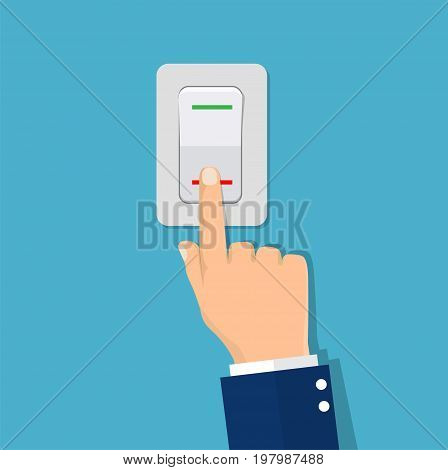 Man hand push button switch. Electric control switch by pressing hand. White button with indicator lamps. Vector illustration in flat design