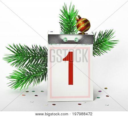 Tear-off calendar. Beginning of the new year January 1